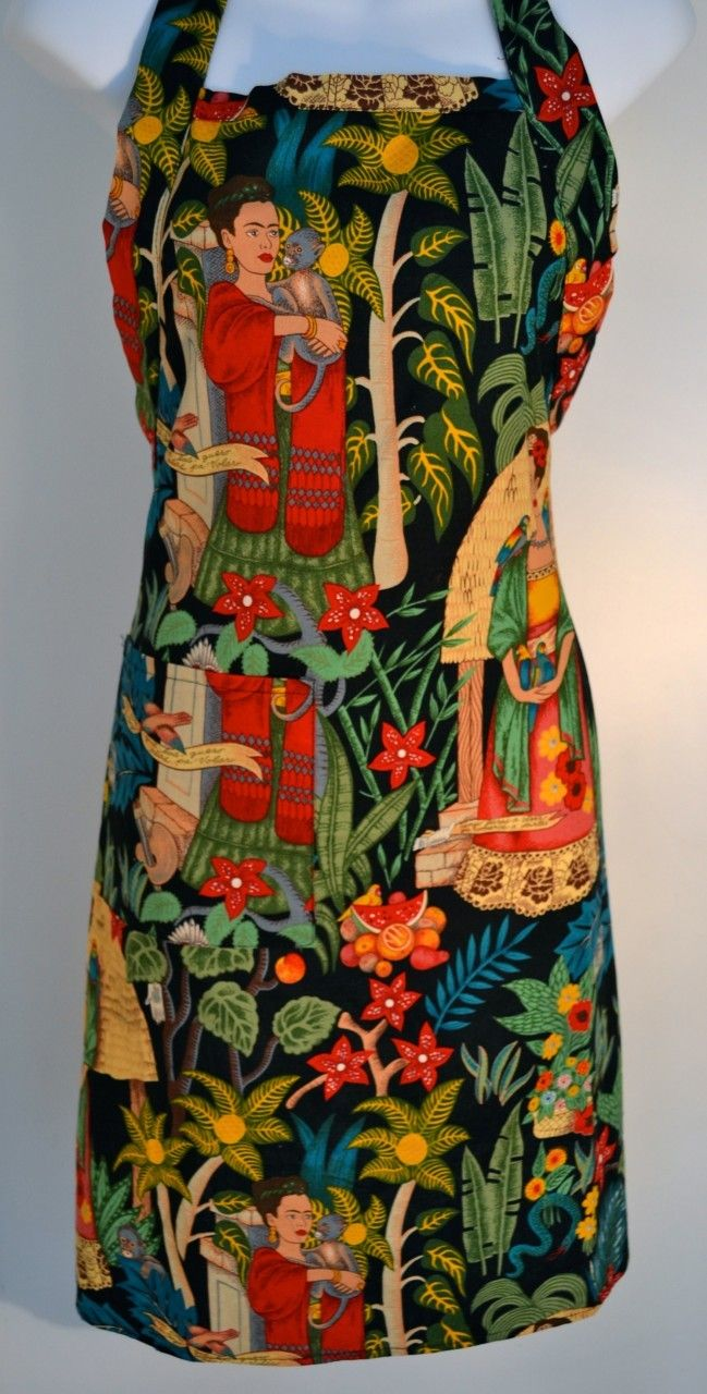 Mexico Import Arts - Frida Kahlo's Garden Apron Black