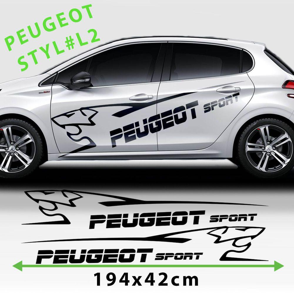 Details About Fits Peugeot 208 Side Racing Stripes Car Logo