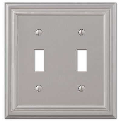 Amerelle Wall Plate 94ttn Continental 2 Gang Satin Nickel Standard Toggle Metal Plates On Wall Decorative Light Switch Covers Light Switch Covers