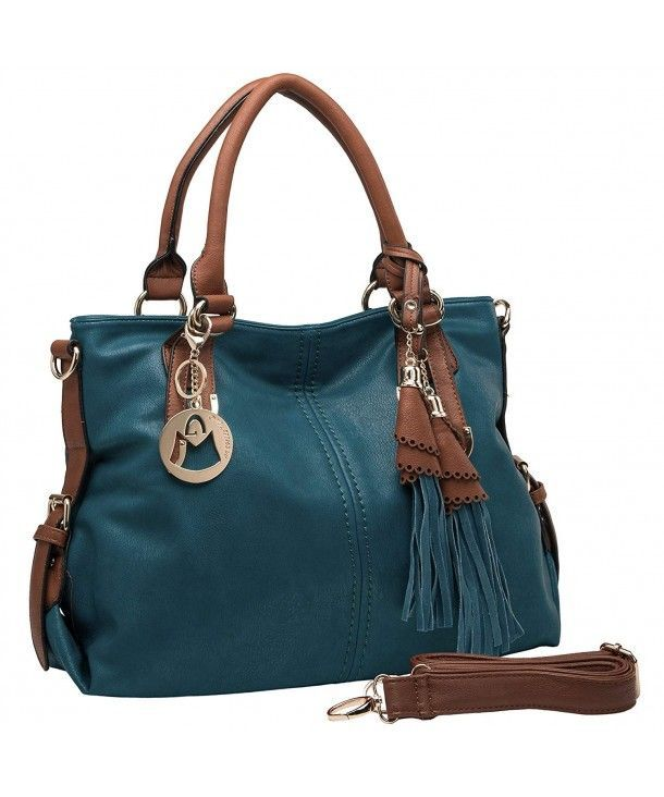 THALIA Top Handle Tassel Decor Hobo Style Tote PurseShoulderbag  Dark Teal  C511N5PD3Y9
