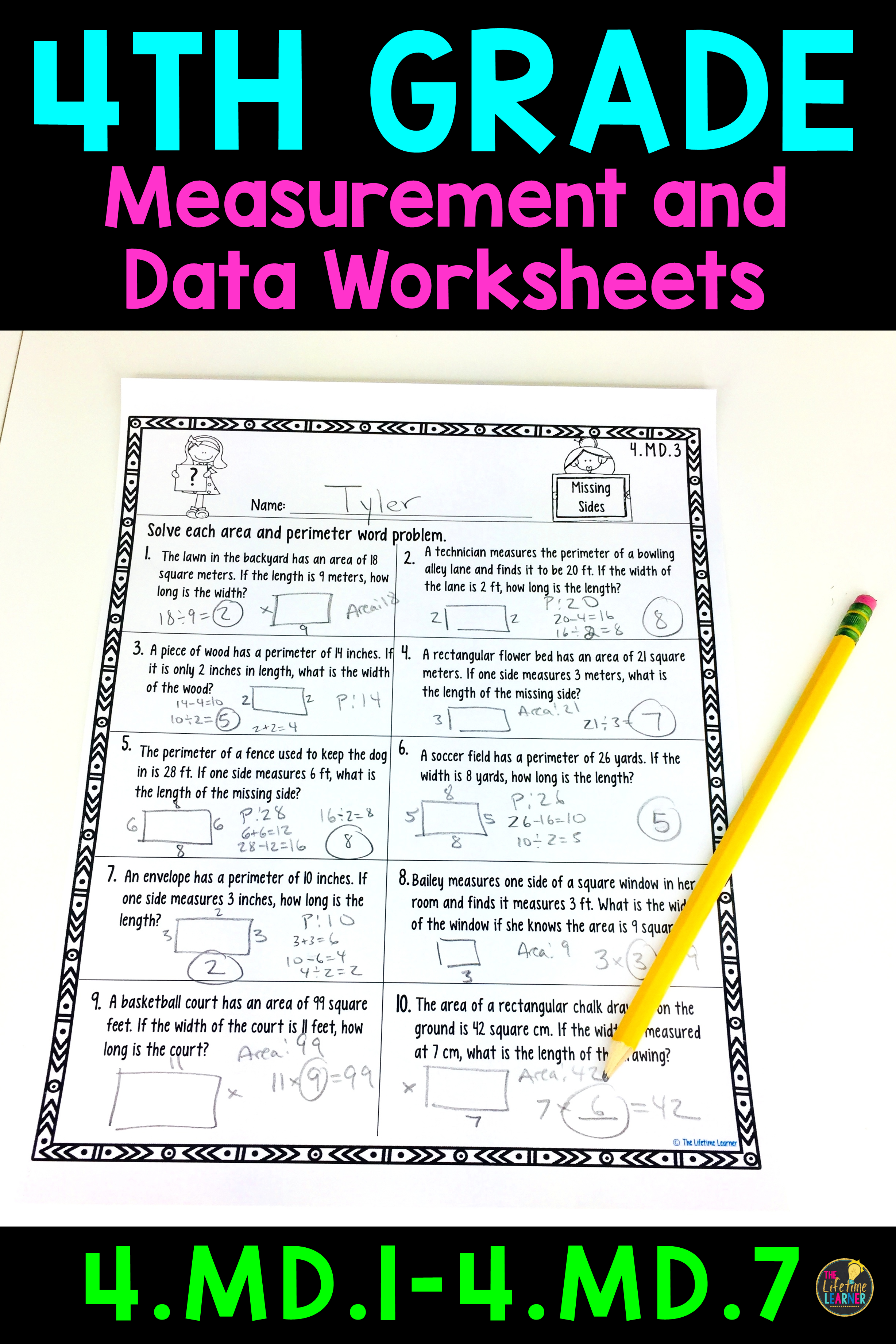 These measurement and data worksheets are perfect for 4th graders. They  align w…   Elementary math lessons [ 3684 x 2456 Pixel ]