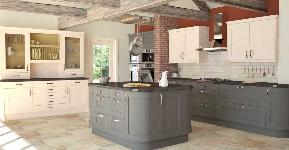 Shaker Graphite Timber Two Tone Kitchen Cabinets