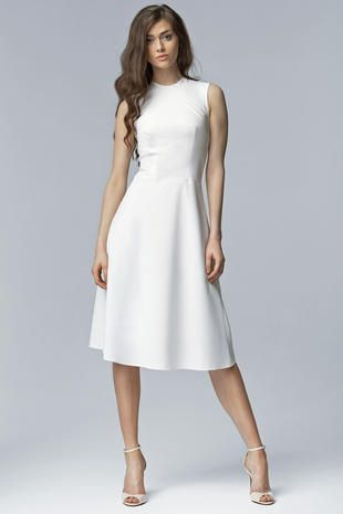 c637f248482c The high neckline of this off white sleeveless midi dress gives it an  extremely sophisticated aura. The seams come down in a curve from the …