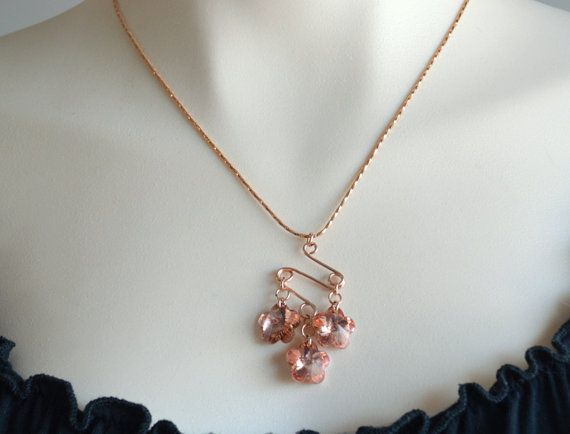 Rose gold and crystal necklace rose gold jewellery by starrydreams