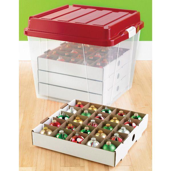 The Container Store Corrugated Ornament Storage Trays Christmas Ornament Storage Ornament Storage Christmas Ornament Storage Box