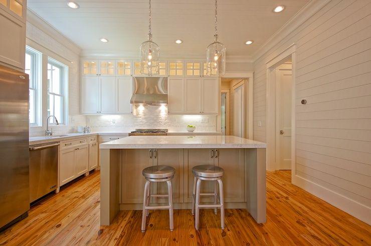 Two Tone White Amp Taupe Kitchen Pale Gray Shiplap Paneled