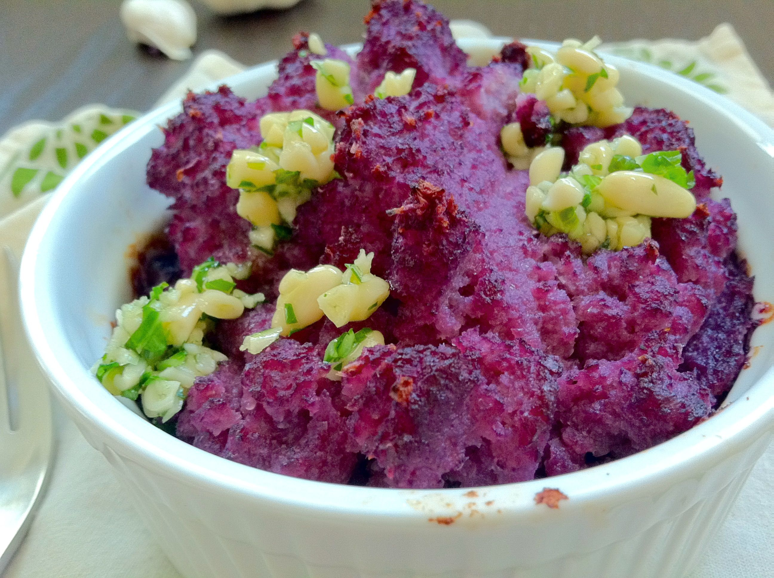 "Purple Cauliflower ""Mashed Potatoes"" with Pesto"