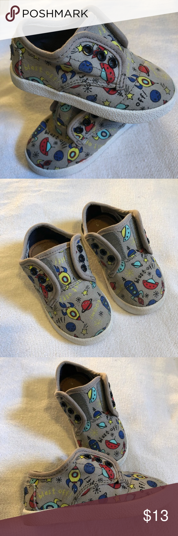 8683ca73efe 🎯🏆HOST PICK🏆🎯TOMS Toddler Shoe s Size 5 Tom s Grey Space themed toddler  shoe s size 5. Some light wear. Nothing major. No stains