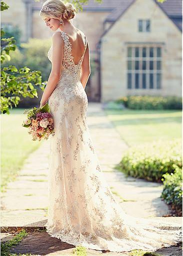 Elegant Tulle Spaghetti Straps Neckline Natural Waistline Sheath Wedding Dress With Beaded Lace Appliques