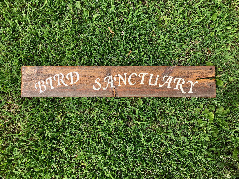 Vintage Handcrafted Reclaimed Wooden Bird Sanctuary Sign Garden ...