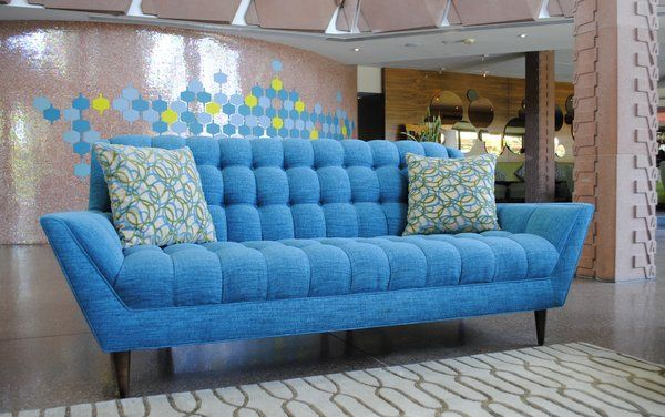 Cleveland Sofa in Lucky Turquoise, in the lobby of the ...