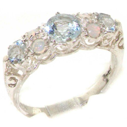 Quality Vintage Design Solid 925 Sterling Silver Natural Aquamarine & Opal statement Ring - Size 11 - Finger Sizes 4 to 12 Available - Suitable as an Eternity, Engagement, Promise or Anniversary Ring