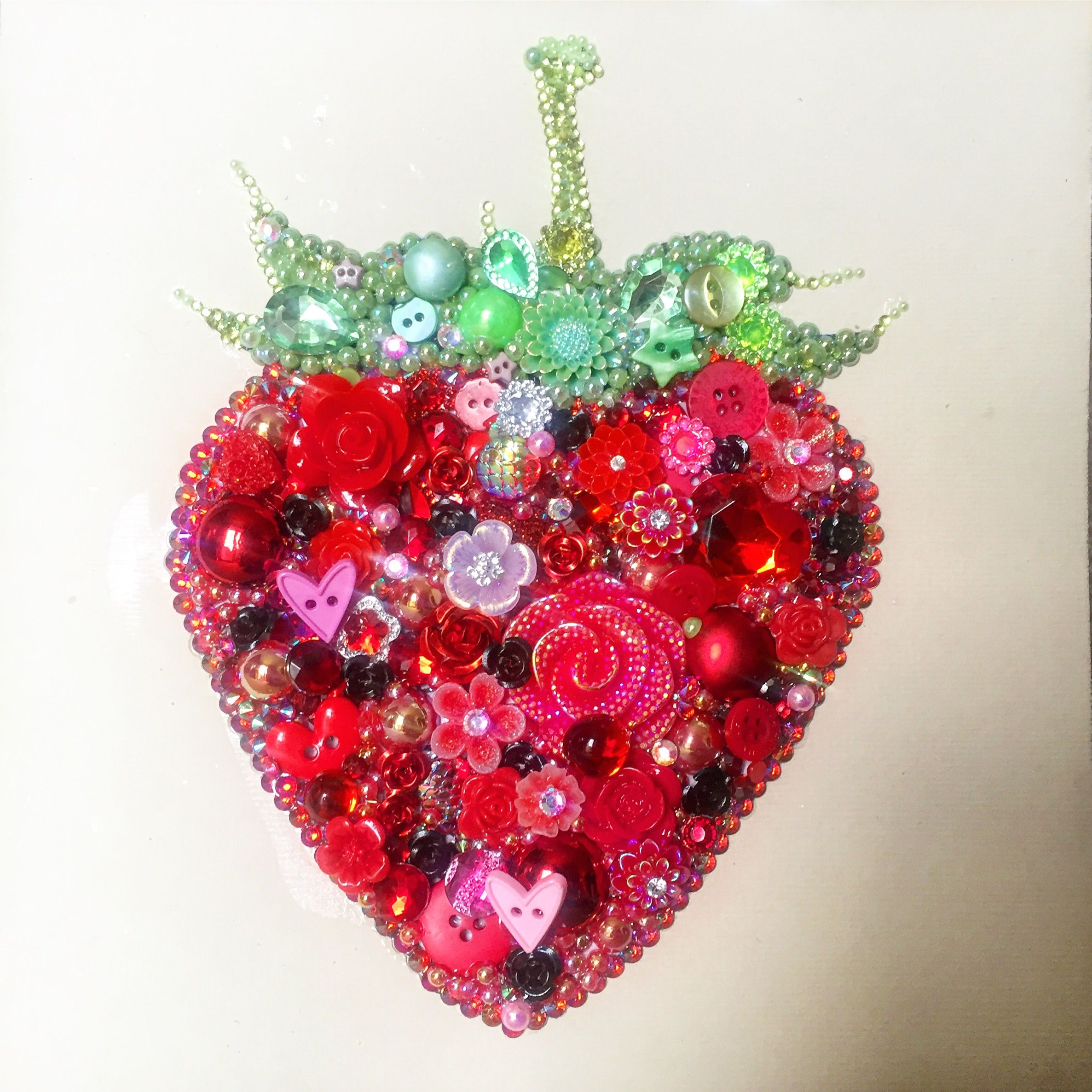 Strawberry christmas ornaments - Strawberry Button And Mixed Media Art On Canvas