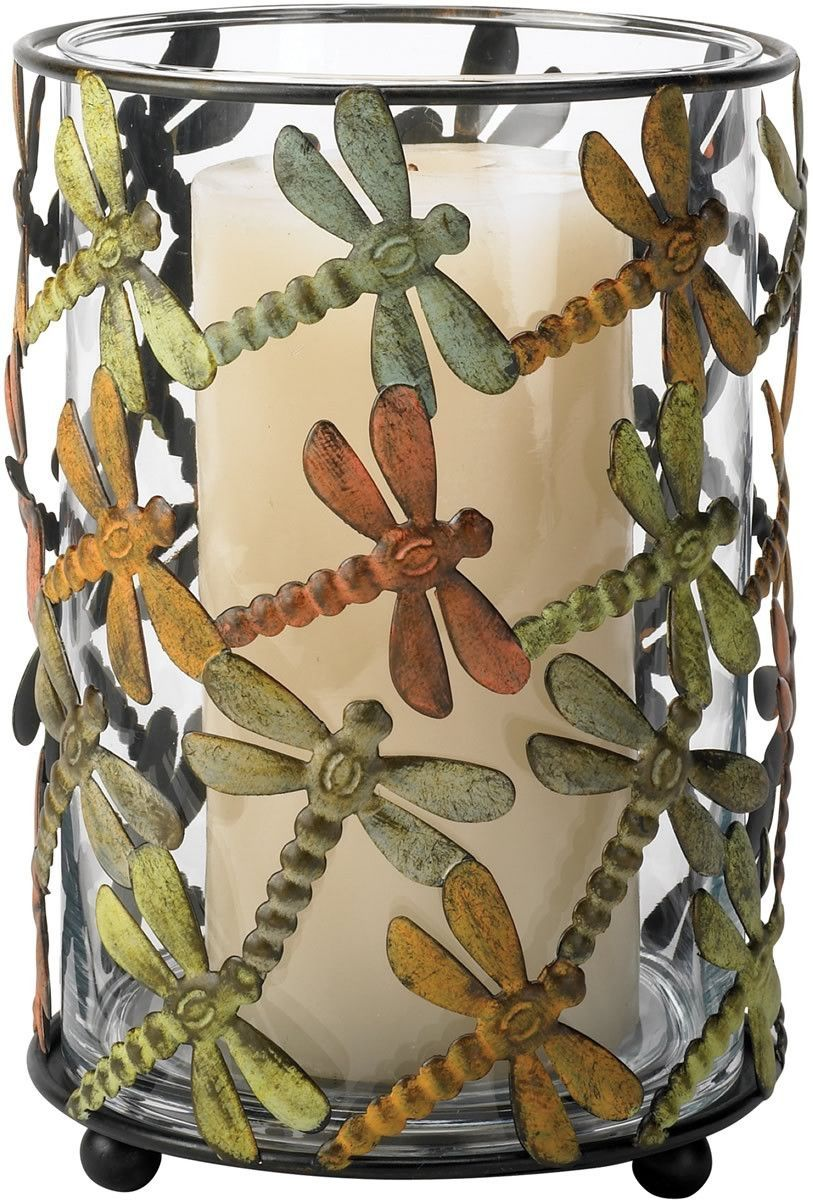 Dragonfly candle holder browngreen dragonflies brown and