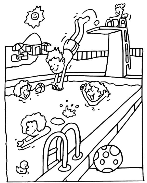 Swimming Pool Summer Coloring Sheets Summer Coloring Pages