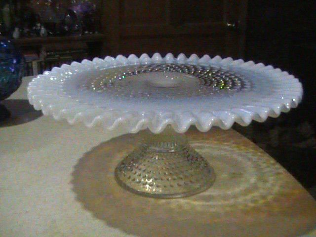 Fenton Glass Hobnail French Opalescent Cake Plate Pedestal Stand 12 3/8  & Fenton Glass Hobnail French Opalescent Cake Plate Pedestal Stand 12 ...