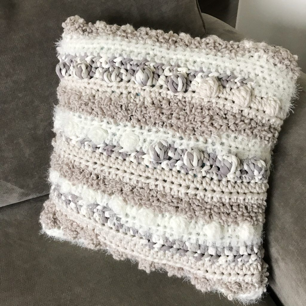 Pattern Bobbles And Rows Pillow Crochet Patterns