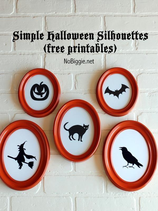 DIY Halloween  DIY 5 simple Halloween Silhouettes (free printables - halloween decoration printables