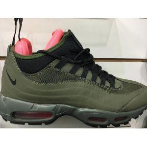16330cb5 Мужские кроссовки Nike Air Max 95 высокие цвет серый с зелеными и черными  вставками