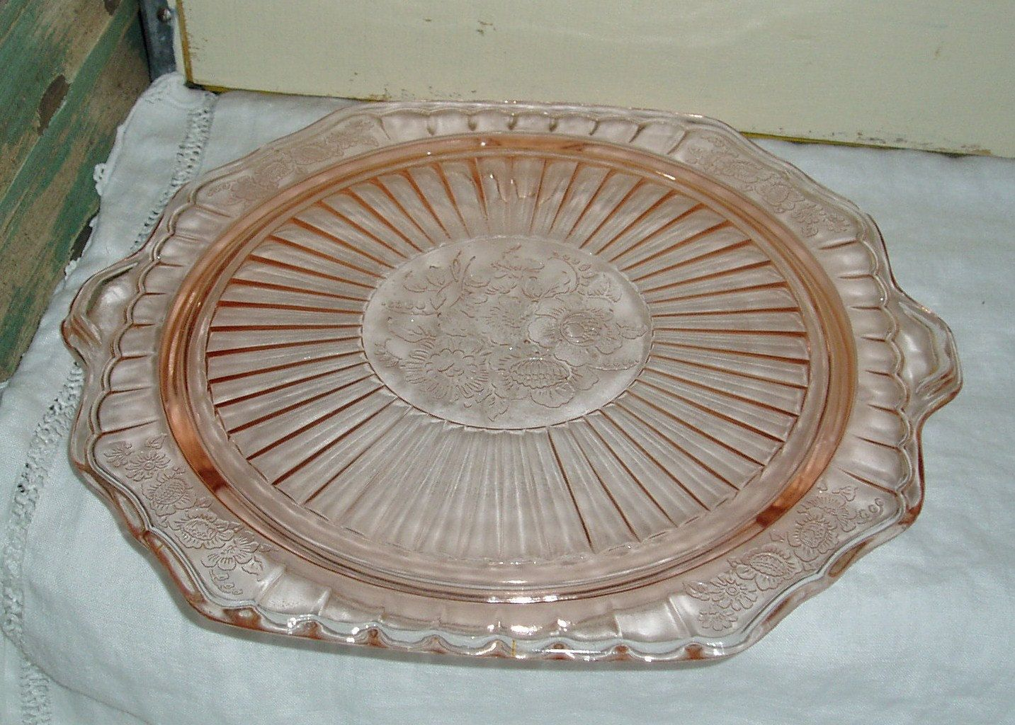 Vintage pink depression glass cake plate | Collections | Pinterest