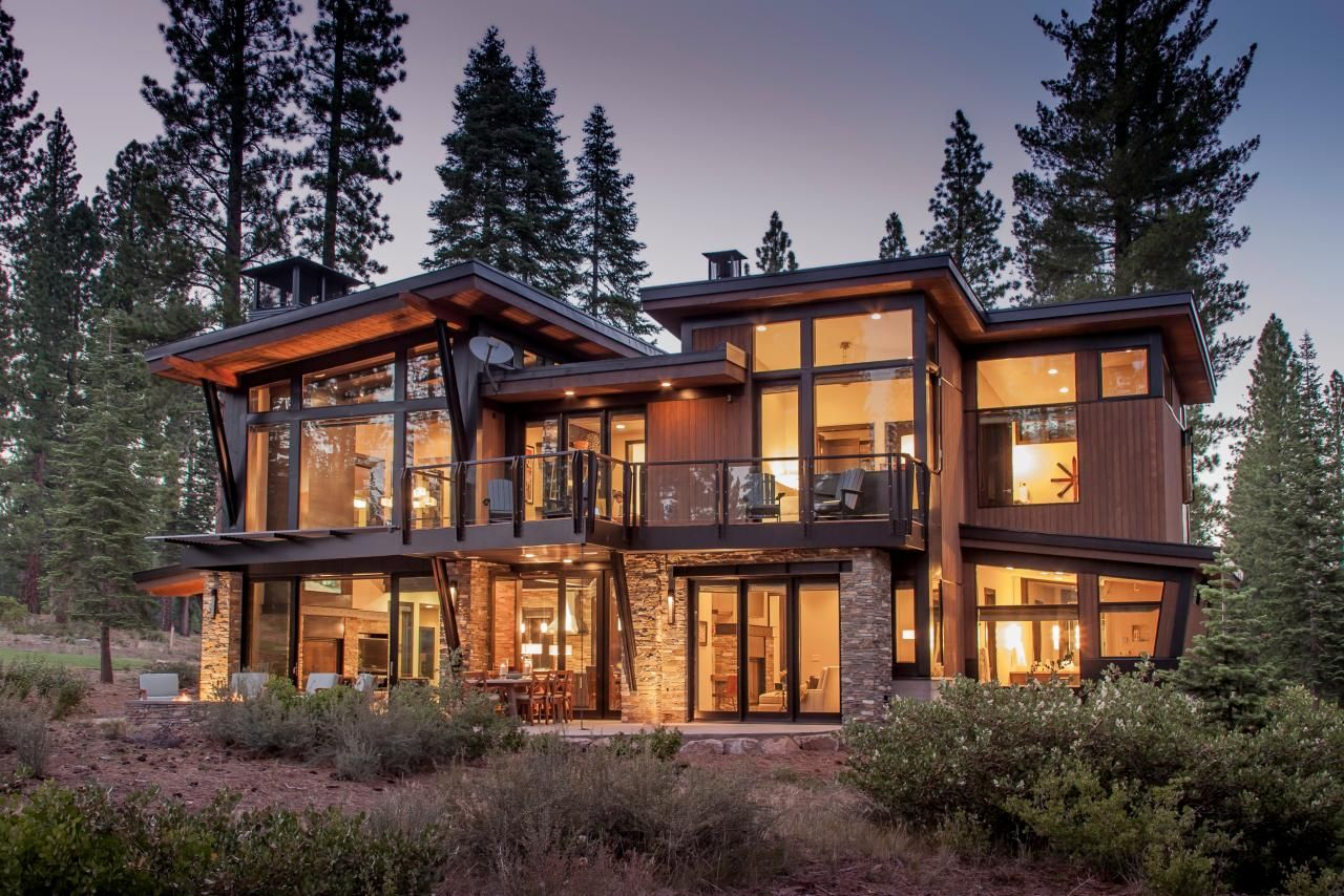 Modern mountain cabin floor plans for Mountain house plans with a view