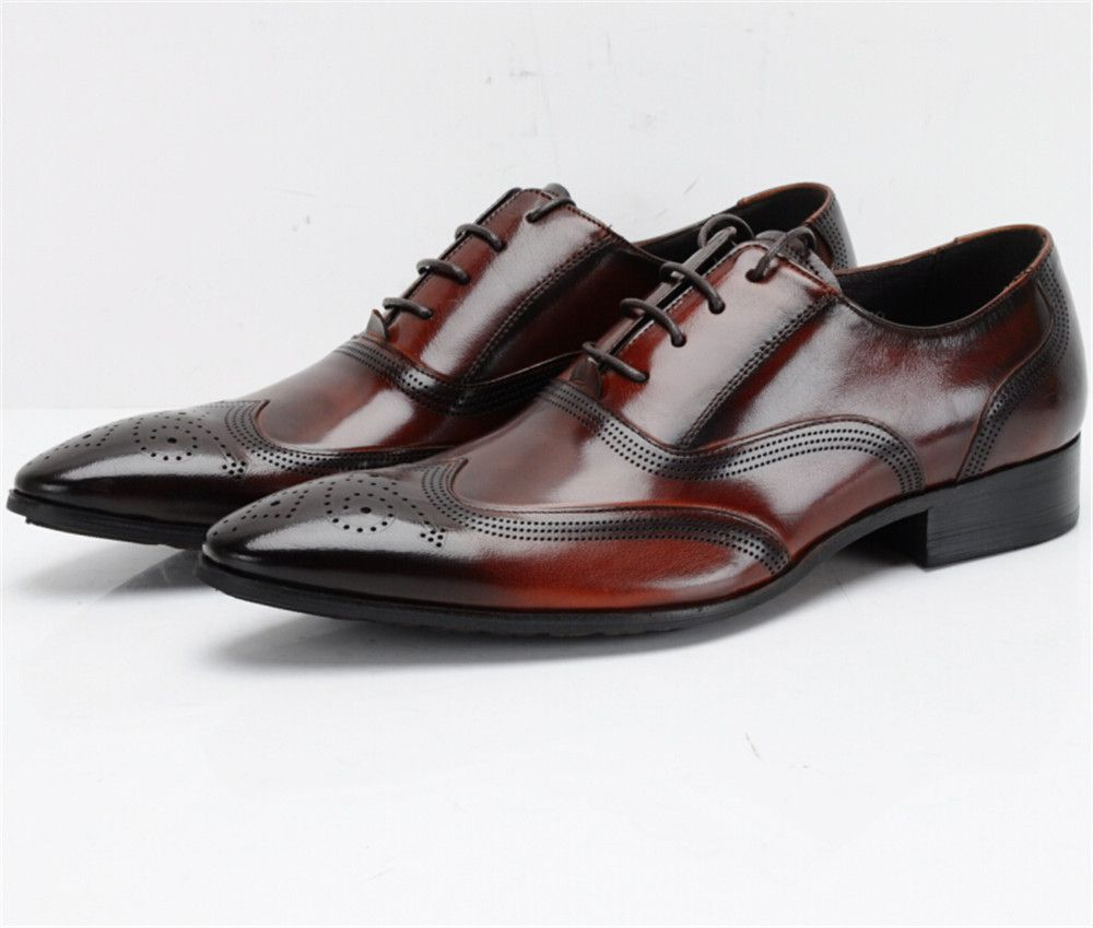 Breathable Black Brown Tan Oxfords Business Shoes Genuine Leather Wedding Mens Dress Fashion