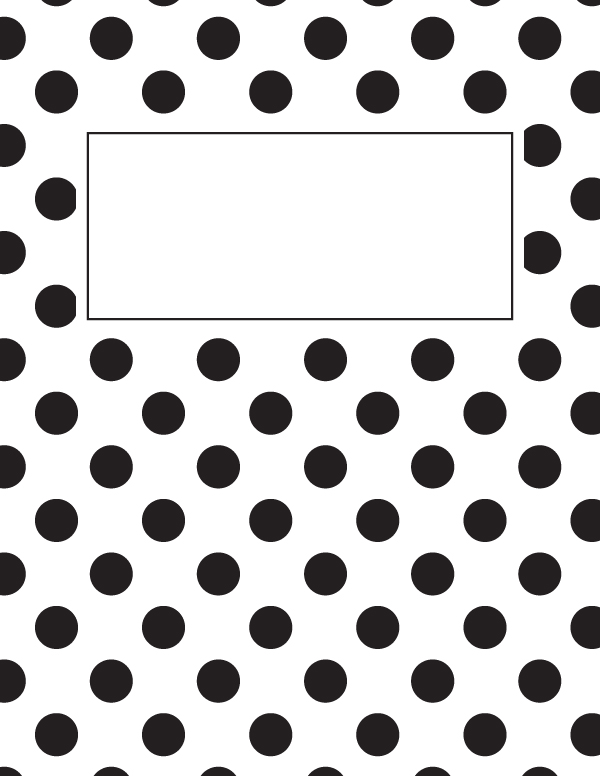 free printable black and white polka dot binder cover template