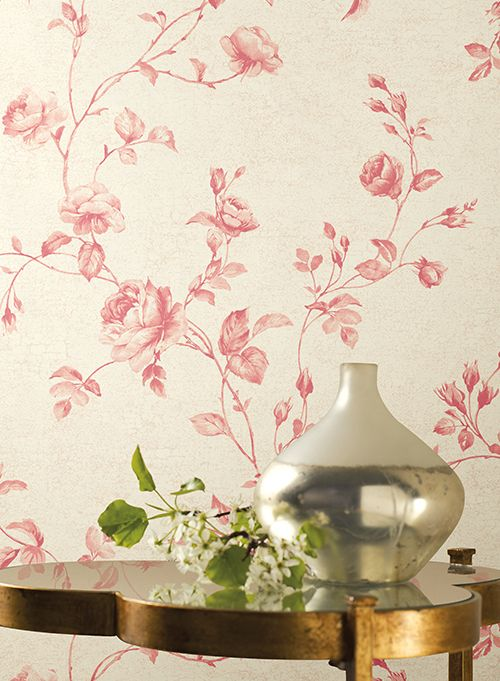Current Obsession Pink Wallcoverings Franki Durbin Modern Vase Red Wallpaper Wallpaper