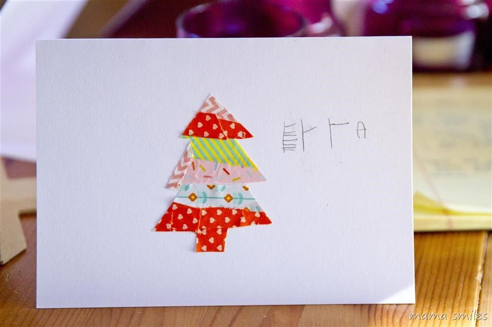 Make Your Own Christmas Cards Ideas Part - 16: Washi Tape Christmas Cards Kids Can Make