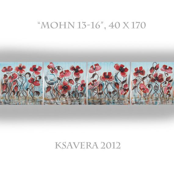 Poppy Painting Red Poppies Art Floral Flower Long by KsaveraART, €120.00  #painting #floral #poppies #poppy