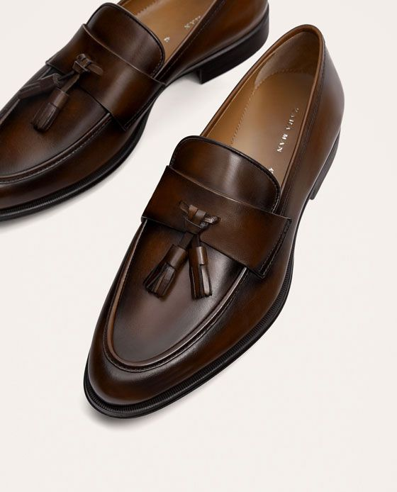 Men's fashion · ZARA - MAN - BROWN LEATHER LOAFERS