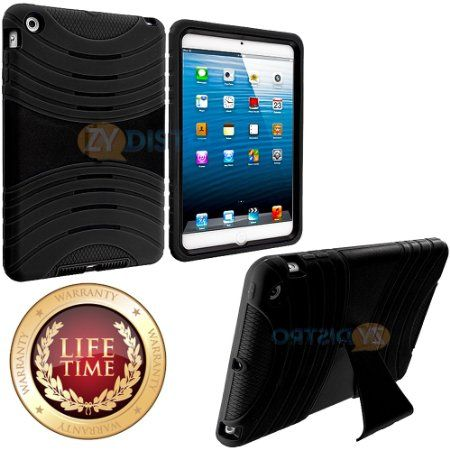 Amazon.com: myLife (TM) Classic Black Shockproof Survivor (With Built In Kickstand) Durable Ridge Case for Apple iPad Mini Touch Tablet (Sof...