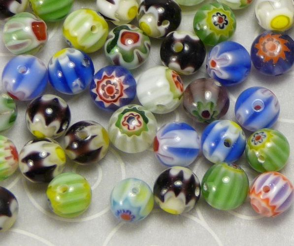 '130+ Millefiori 6mm Glass Beads' is going up for auction at 12pm Thu, Aug 30 with a starting bid of $3.