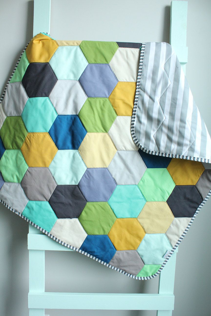Baby QUILT hexagon modern hipster by PETUNIAS by PETUNIAS on Etsy ...