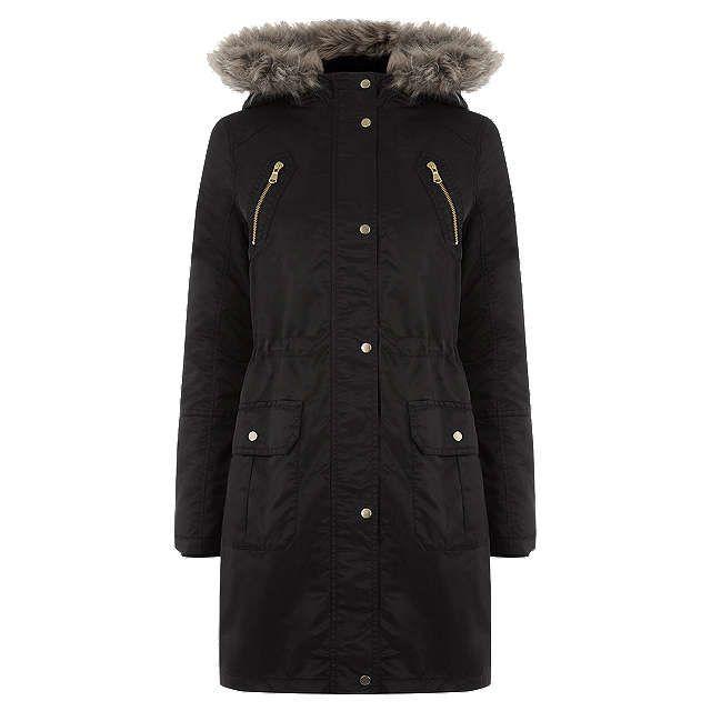 f4fed283091d BuyOasis Diana Parka Jacket, Black, XS Online at johnlewis.com £72