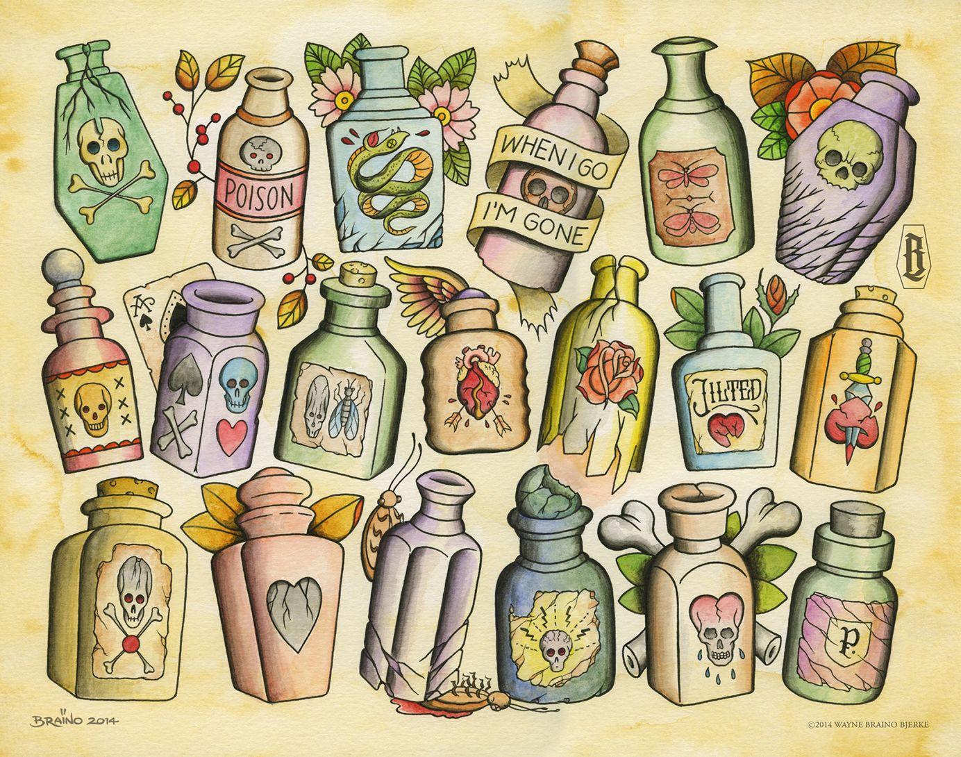 many poison bottles braino tattoo flash pinterest