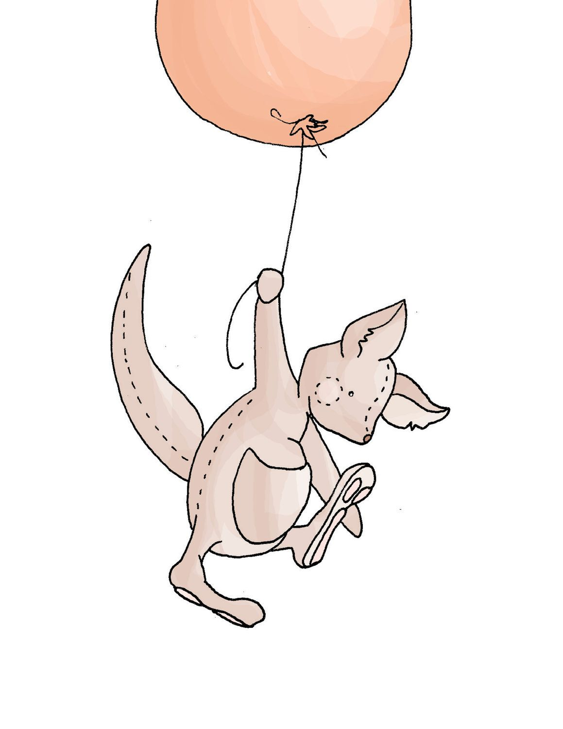 Children Art NURSERY decor BALLOON Kangaroo 8x10 by ...