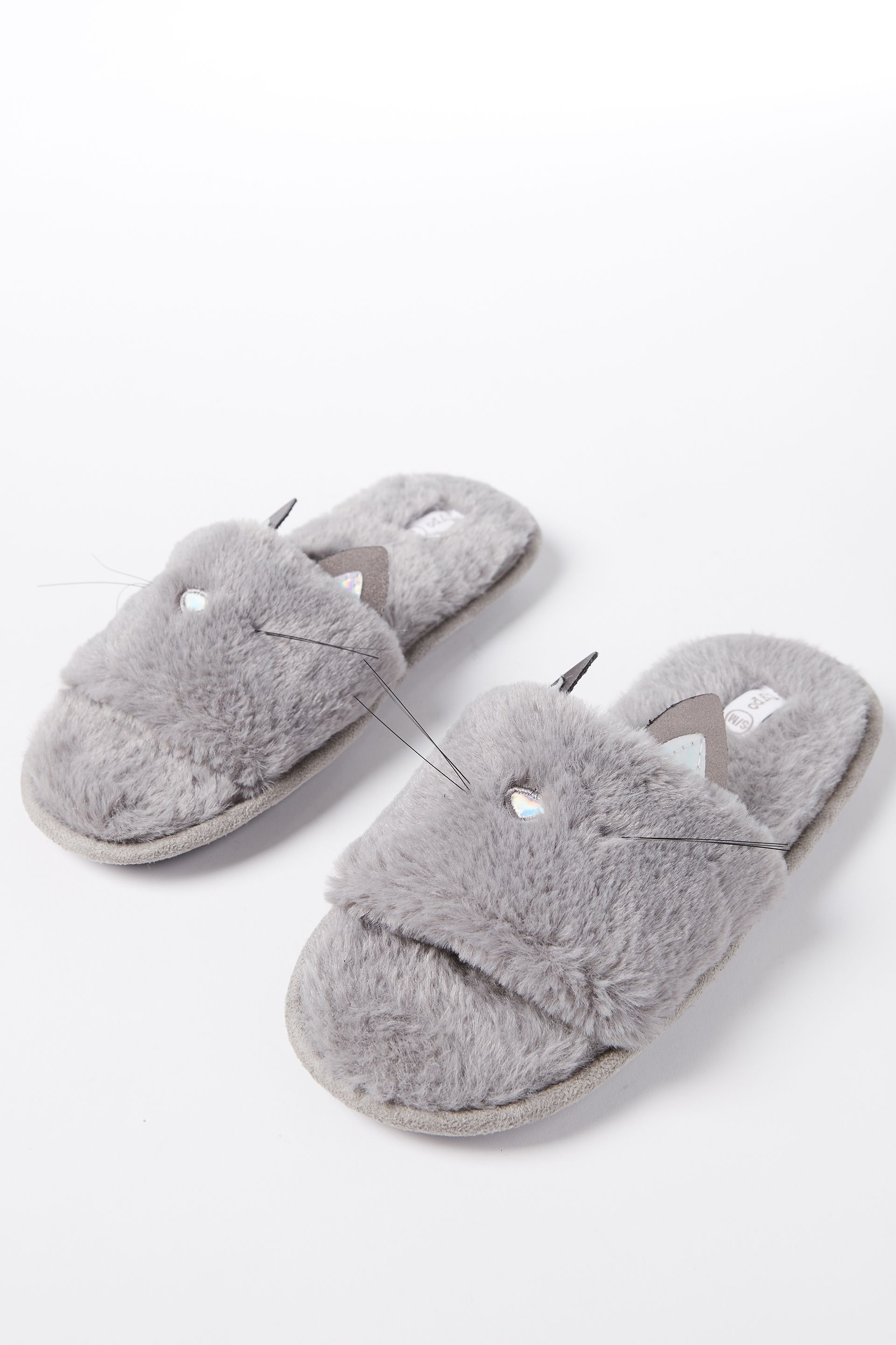 d5dffe6b1e30 Typo  Grey Fur Cat Slippers. Of course not real fur. Or real cat ...