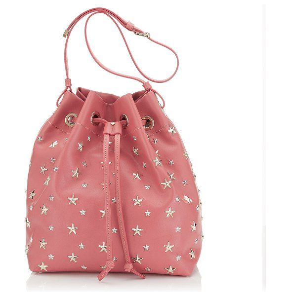 7d4a7c9512c Jimmy Choo JUNO Rosewood and Silver Mix Metallic Leather Drawstring Bag  with Multimetal Star Detailing.
