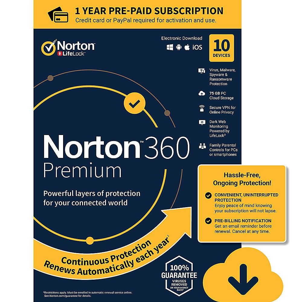Norton 360 Premium For 10 Devices 1 Year Subscription Windows
