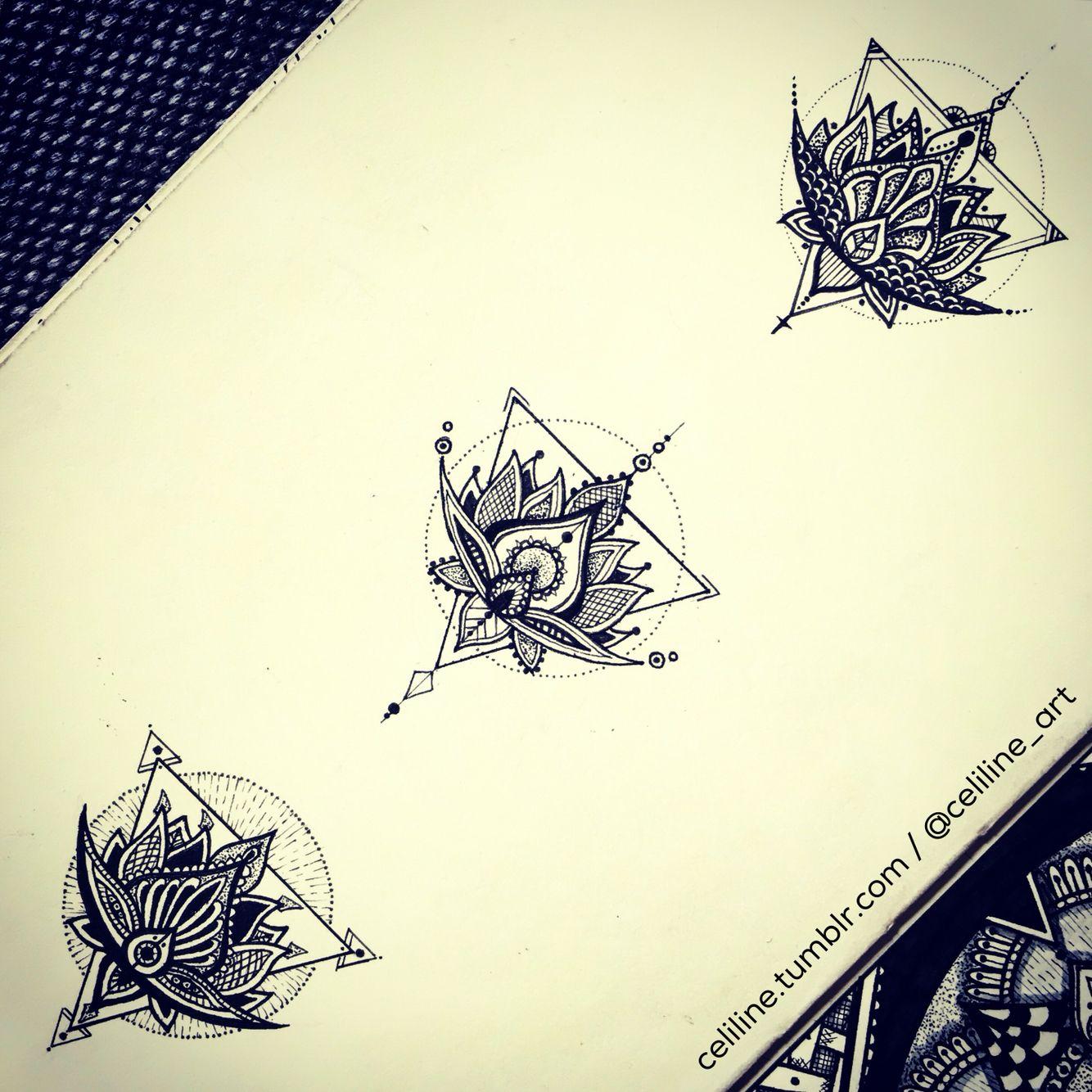 Lotus FLOWER variations - zentangle, Doodle, Artwork, drawing, tattoo idea, tattoo design, zen, black, sketchbook, doodling, zendoodle, art piece