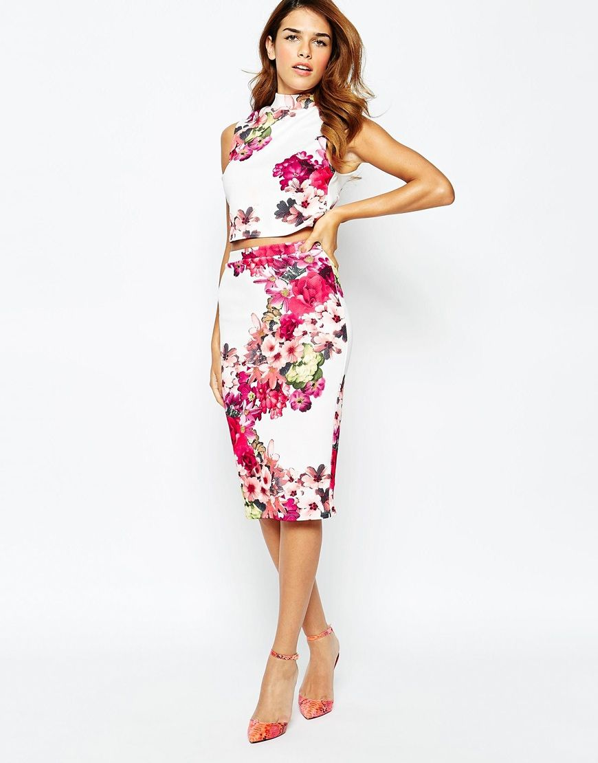Image 1 of Michelle Keegan Loves Lipsy All Over Textured Floral ...