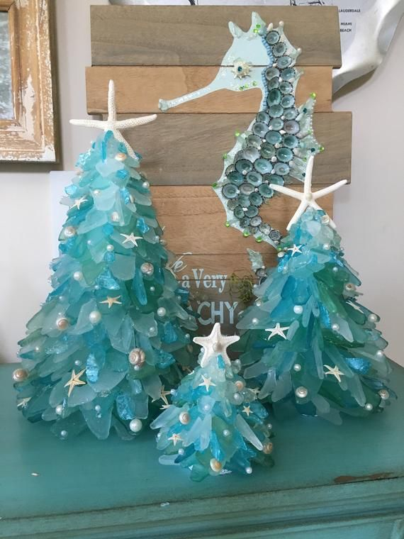 Handmade Designer Medium 9 5 Inch Coastal Christmas Sea Glass Tree Glass Christmas Tree Coastal Christmas Decor Beach Christmas Decorations