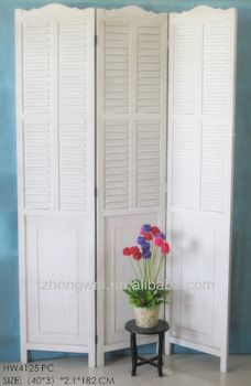 3pieces Folding Antique White Wooden Room Screensroom Divider For