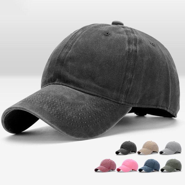 Men Women Baseball Plain Cap Solid Cotton Adjustable Fashion Washed Outdoor Hat