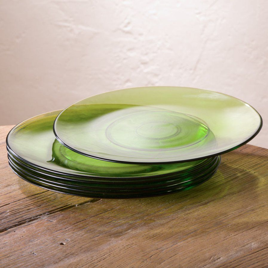 8 Quot Cast Recycled Glass Salad Plate Set Of 6 Dining