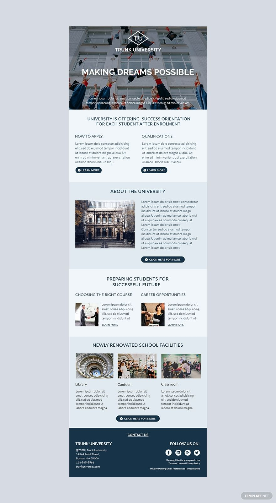 Newsletters are a great way to share important information and increase customer interaction. University Email Newsletter Template In Html5 Word Outlook Apple Pages Psd Publisher Template Net Email Newsletter Design Email Newsletter Template Newsletter Design Templates