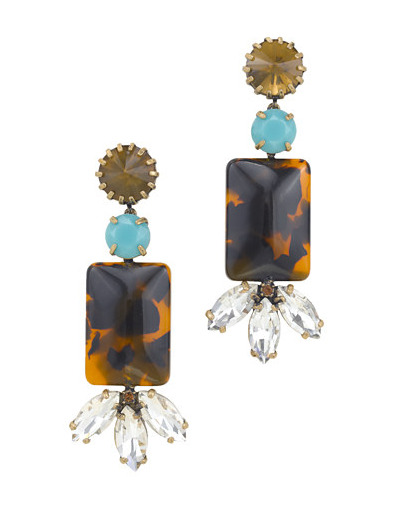 Anthropologie Womens Hextagon Crystal Double Link Drop Earrings NOB 50