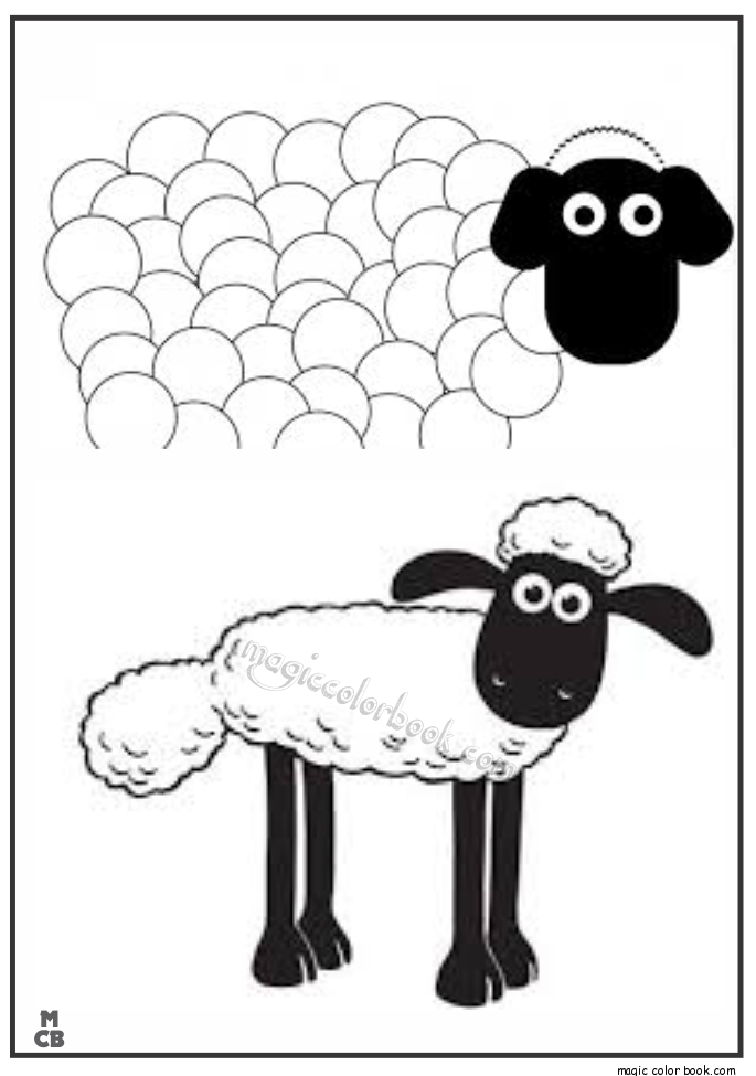 Shaun the sheep cartoon coloring pages for kids, printable free ...