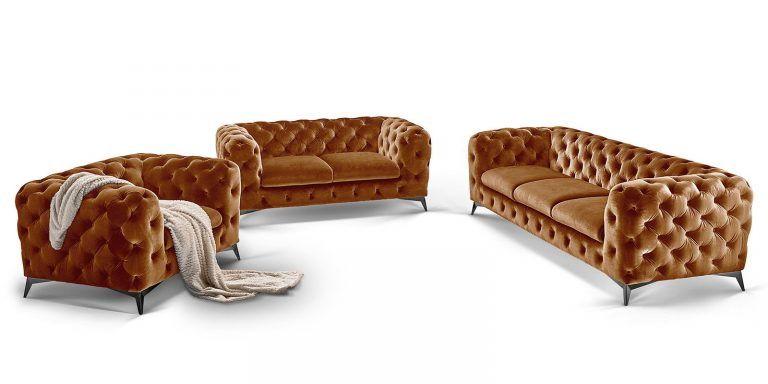 Sofa Garnitur 3 Teilig Chesterfield Gold Senf Big Emma In 2020 Sofa Set Home Decor Furniture